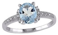 Other Sterling Silver 1.07 Ct Tw Diamond And Aquamarine Cluster Ring Gh I2i3