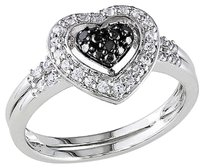 Other Sterling Silver Black Diamond And 13 Ct Created Sapphire Heart Love Fashion