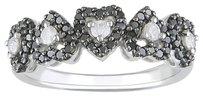 12 Ct Black And White Diamond Heart Love Fashion Ring 10k White Gold Gh I2