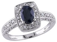 Other Sterling Silver 16 Ct Diamond Tw And 1 Ct Tgw Black Sapphire Fashion Ring I3