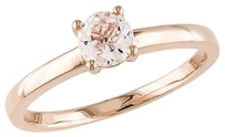 10k Pink Gold 12 Ct Morganite Solitare With Accent Ring