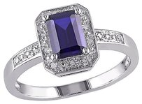 Other Sterling Silver Diamond And 1.59 Ct Tgw Blue Sapphire Fashion Ring I3 925
