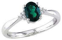 Sterling Silver 0.73 Ct Tw Diamond And Emerald Fashion Ring I3