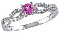 Other Sterling Silver 0.28 Ct Tw Diamond And Pink Sapphire Crossover Fashion Ring