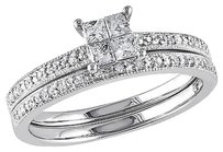 10k White Gold 13 Ct Princess And Round Diamonds Solitare Wedding Band Ring