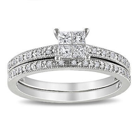 Other 10k White Gold 13 Ct Princess And Round Diamonds Solitare Wedding Band Ring