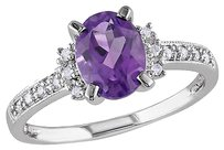 Other Sterling Silver 1.27 Ct Tw Diamond And Amethyst-africa Cluster Fashion Ring
