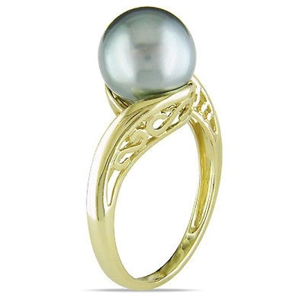 Other 14k Yellow Gold Tahitian Black Pearl Bypass Twist Ring 8-8.5 Mm