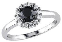 Other 10k White Gold 1 Ct Black White Diamond Engagement Ring Ghi I2-i3