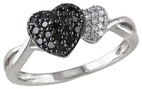 Other Sterling Silver 14 Ct Black And White Diamond Tw Heart Love Fashion Gh I2i3