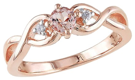 Other Pink Silver 0.39 Ct Tw Diamond And Morganite Crossover Fashion Ring Gh I2i3