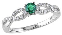 Sterling Silver 0.18 Ct Tw Diamond And Emerald Crossover Fashion Ring Gh I2i3
