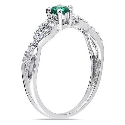 Other Sterling Silver 0.18 Ct Tw Diamond And Emerald Crossover Fashion Ring Gh I2i3