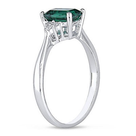 Other 10k White Gold 110 Ct Diamond Tw And 78 Ct Tgw Emerald Fashion Ring Gh I2i3