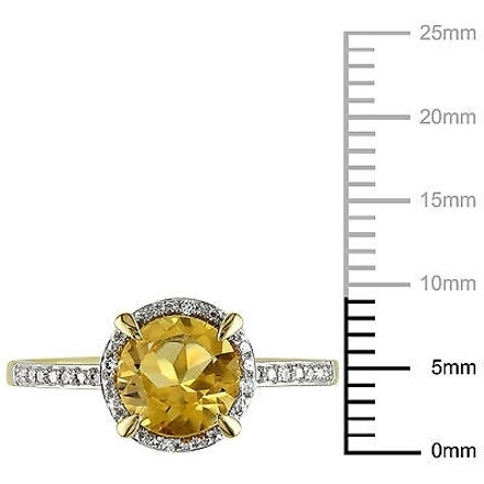 Other 10k Yellow Gold Citrine And Diamond Accent Ring 1 14ct Tgw