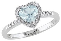 Sterling Silver 110 Ct Diamond And 58 Ct Aquamarine Heart Love Ring Gh I2i3