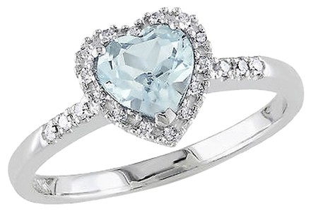 Other Sterling Silver 110 Ct Diamond And 58 Ct Aquamarine Heart Love Ring Gh I2i3