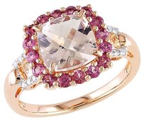 Other Sterling Silver Diamond And 2 34 Ct Morganite Pink Tourmaline Ring Gh I2i3