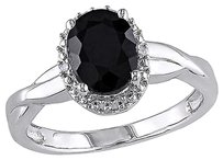 Other Sterling Silver Diamond And 1 35 Ct Tgw Black Sapphire Fashion Ring I3