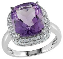 Sterling Silver 5.6 Ct Tgw Amethyst Created White Sapphire Fashion Ring