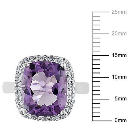 Other Sterling Silver 5.6 Ct Tgw Amethyst Created White Sapphire Fashion Ring