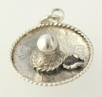 Other Sombrero Charm - Sterling Silver 925 Mexican Hat Floral Mexico Keepsake Pendant