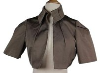 Sporty Max Womens Taupe Textured Blazer Short Sleeve Silk Blend