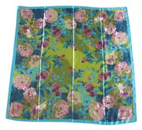 Other Square Silk Scarf Twill 90cm x 90cm Blue Pink Peony Rose Print