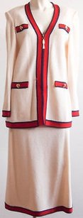 Other St. John Collection Cream Red Navy Santana Knit Occasion 2pc Skirt Suit