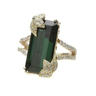 Stambolian 18k Yellow Gold Green Tourmaline Diamond Ring Size 8