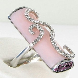 Stefan Hafner Ring 0.55cts Diamonds Rose Quartz Pink Sapphires 18k Wg