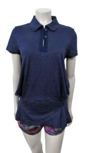 Stella Mc Cartney Navy Pleats Sides Tennis Top
