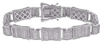 Sterling Silver Mens Bracelet Simulated Diamonds Pave Set Classy Inch