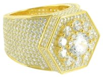 Sterling Silver Mens Ring Octagon Face Lab Diamond Iced Out 14k Yellow Gold Tone