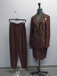 Other Steve Fabrikant Neiman Marcus Brown Gold Skirt Pant Jacket Suit 4346a