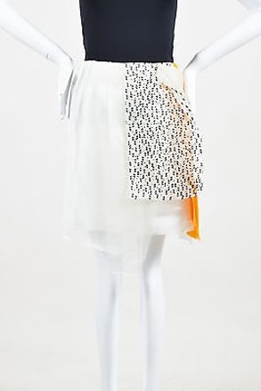 Christian Wijnants Cream Orange Chiffon Rhinestone Sandy Skirt #18446239 - Skirts delicate