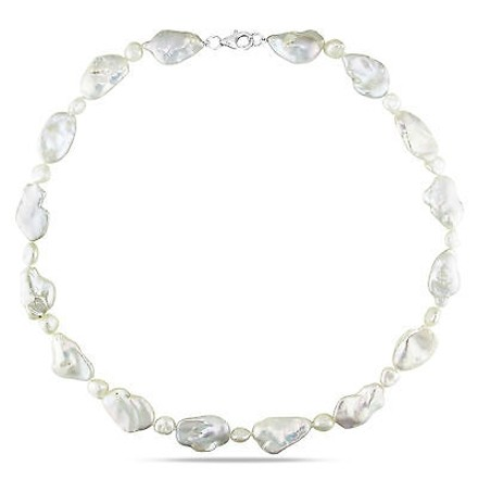 Other 18 6-7 Mm 11-12mm Freshwater Biwa Style Pearl Necklace Silver Lobster Clasp