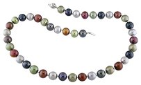 Other 18 9-10 Mm Multi Color Black Grey Pistachio Brown Pearl Necklace Silver Clasp