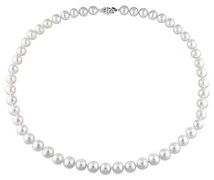 Other 18 7.5-8 Mm Freshwater Cultured Pearl Necklace W Silver Fish Eye Clasp