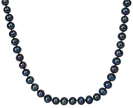 Other Sterling Silver 24 9-10 Mm Freshwater Black Pearl Necklace W 9mm Ball Clasp