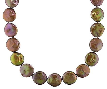 Other Sterling Silver Freshwater Brown Pearl Strand Necklace 16.5-17 Mm 18 Amour