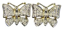 14k Ladies Butterfly Diamond Multi Stud Earrings .50 Ct