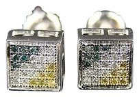 Mensladies Multi-color Bezel Diamond Earring .50 Ct