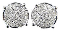Mensladies Round Prong Diamond Pave 10 M Stud Earrings
