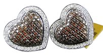 Ladies Heart Pave Red Gold Diamond 16 Mm Earrings 1.50 Ct