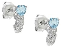 Other Sterling Silver Diamond And 38 Ct Aquamarine Heart Love Stud Earrings I2i3