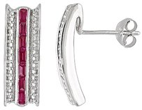 Other Amour Sterling Silver 2 Ct Tgw Ruby Pin Stud Earrings