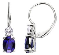 Sterling Silver Blue White Sapphire Earrings 4.64 Ct Tgw