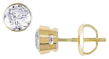 Other 14k Yellow Gold Diamond Solitaire Stud Earrings 1 Cttw G-h I1-i2