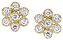 14k Yellow Gold Diamond Stud Flower Nature Earrings 0.5 Cttw G-h I1-i2